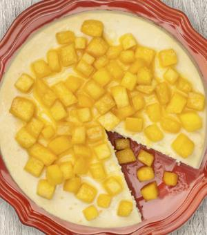 Cheesecake Topped with Diced Mango